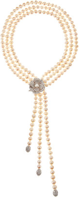 Kenneth Jay Lane CZ by Three-Strand Pearl and Cubic Zirconia Flower Necklace