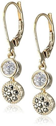 "Judith Jack ""Golden Class"" Sterling Silver and Gold-Tone Marcasite Cubic-Zirconia Drop Earrings $75 thestylecure.com"