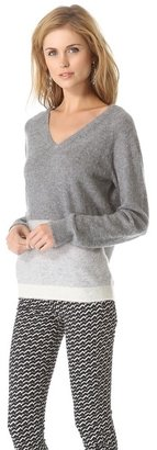 Trovata Birds of paradis by Two Tone V Neck Sweater