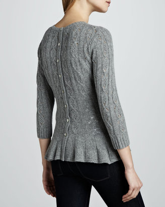 Autumn Cashmere Pointelle Cashmere Peplum Sweater, Cement