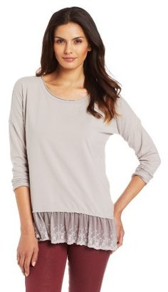 True Grit Dylan by Women's Sueded Cotton Long Sleeve Top with Lace