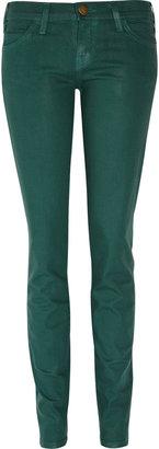 Current/Elliott Coated low-rise stretch-denim skinny jeans