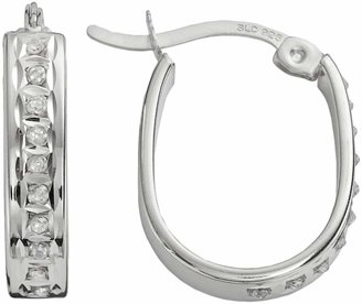 Diamond Mystique Platinum Over Silver Diamond Accent U-Hoop Earrings