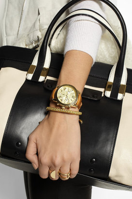 Michael Kors Mercer gold-tone and leather chronograph watch
