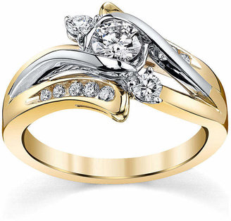 Sirena 5/8 CT. T.W. Diamond 14K Two-Tone Gold 3-Stone Bypass Bridal Ring