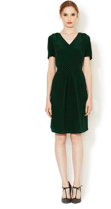 Silk A-Line Dress with Pleats