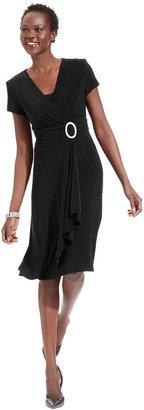 R & M Richards Short-Sleeve Faux-Wrap Dress $89 thestylecure.com