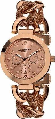Akribos XXIV Women's AK564RG Multi-Function Mesh Link Bracelet Watch