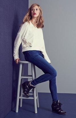 Painted Threads Crochet Inset Sweatshirt (Juniors)