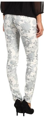 Mavi Jeans Serena Low-Rise Super Skinny in White Floral (White Floral) - Apparel