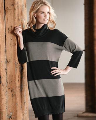 Joan Vass Long Bold-Striped Tunic, Petite