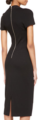 Jason Wu Short-Sleeve Satin & Jersey Fitted Dress, Black