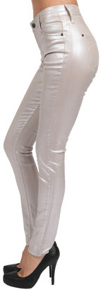 James Jeans Twiggy Metallic Faux Pocket Legging in Pearl