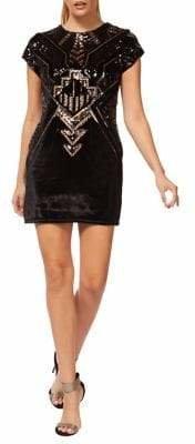 Dex Sequined Velvet Sheath Dress