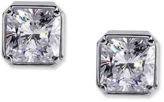 Crislu Earrings, Platinum Over Sterling Silver Bezel Set Princess Cut Cubic Zirconia Stud Earrings (4 ct. t.w.)