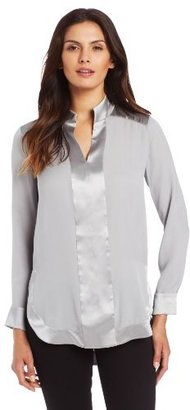 Magaschoni Women's Long Seeve High Low Blouse