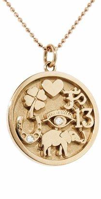 Jennifer Meyer Good Luck Charm Necklace - Rose Gold and Diamonds
