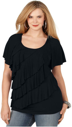 Amy Byer Plus Size Top, Short Sleeve Tiered Ruffled