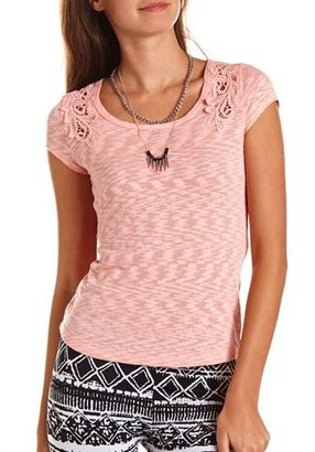 Charlotte Russe Crochet Shoulder Burnout Tunic