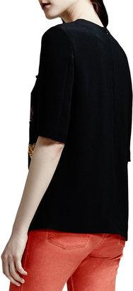 Stella McCartney Beaded Stretch Cady Tulip-Hem Top, Black