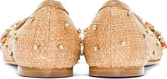 Dolce & Gabbana Tan Woven & Embellished Natural Flats