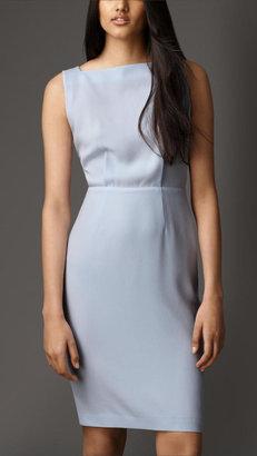 Burberry Twist Detail Satin-Back Crepe Dress
