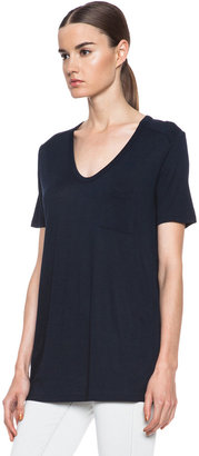 Alexander Wang Classic Viscose Tee with Pocket in Ink