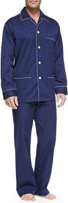 Derek Rose Satin-Stripe Dot-Print Pajamas $285 thestylecure.com