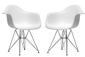 Bed Bath & Beyond Baxton Studio Plastic Chair in White (Set of 2)