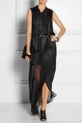 Helmut Lang Eros leather-trimmed fil coupé gown