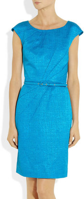 Oscar de la Renta Belted cotton-blend jacquard dress