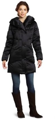 Larry Levine Women's Down Filled Satin Pillow Collar Coat