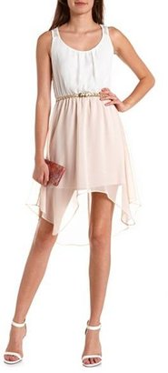 Charlotte Russe Belted Lace-Back Hi-Low Dress
