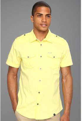 Ecko Unlimited Standard Fit Solid Poplin Military Shirt (Zesty Yellow) - Apparel
