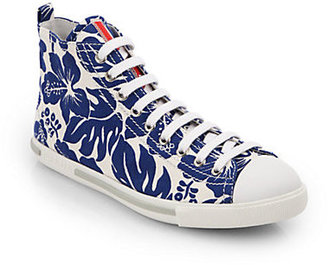 Prada Hibiscus-Print Canvas High-Top Sneakers