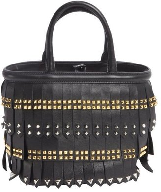 Prada black leather studding detail top handle handbag