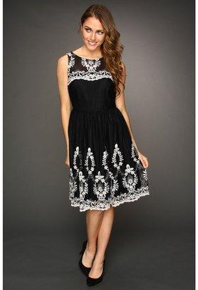 Muse Floral Embroidered Girlie Dress (Black/Ivory) - Apparel