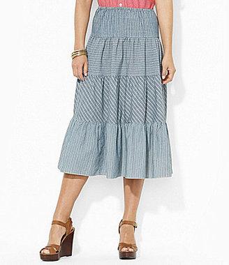 Lauren Ralph Lauren Striped Chambray Tiered Skirt