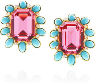 Kenneth Jay Lane Gold-plated, Swarovski crystal and resin clip earrings