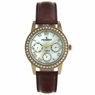 Peugeot Women's 3025 Gold-Tone Swarovski Crystal Accented Multi-Function Leather Strap Watch