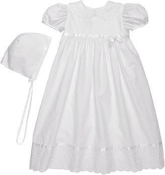 Little Things Mean a Lot Lace Collar Christening Gown and Bonnet Set