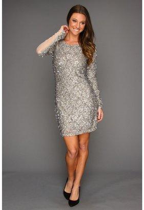 ABS by Allen Schwartz Sequin Lace Cocktail Dress (Silver) - Apparel