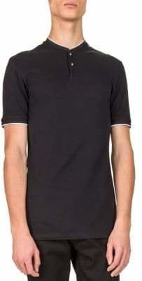 The Kooples Mix-Cotton Henley T-Shirt