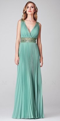 Mignon Pleated Embellished Illusion Low Back Evening Dresses