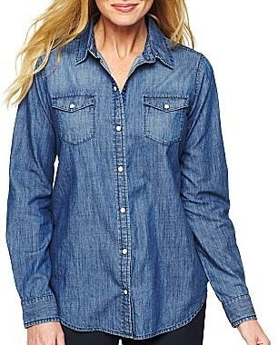 Liz Claiborne Snap-Front Denim Shirt - Plus