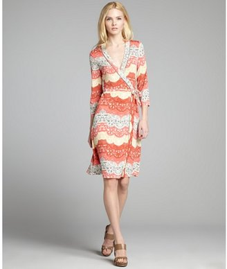 BCBGMAXAZRIA orange and grey printed jersey knit wrap dress