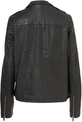 Topshop Longline Leather Biker Jacket