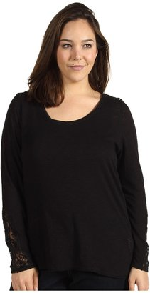 Lucky Brand Plus Size Indian Lace Thermal (Black) - Apparel