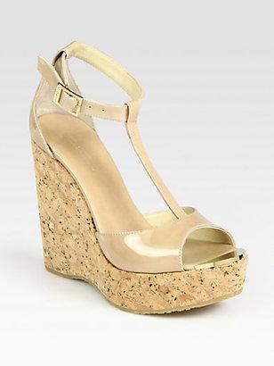 Jimmy Choo Pela Patent Leather T-Strap Wedge Sandals