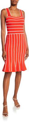 Bicolor Stripe Flounce Dress